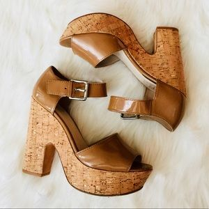 ❗️Michael Kors Leather Cork Platforms MSRP $275!